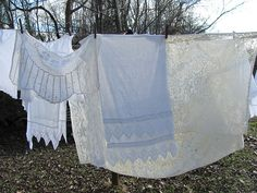 laundry day - Vintage linens drying in the sunshine..