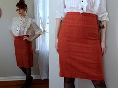 Vintage Pencil Me In Red Plaid Skirt // 1950's Pendleton Perfect High Waisted Wiggle Skirt // Red & Tan Plaid Women's Secretary Style Size M