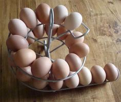 I want one of these. Egg Skelter. For those of us with fresh eggs, it keeps you using the oldest first and never mixing them up.
