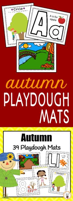 Do your kids love playdough?  Try adding these educational playdoh mats to their sensory time.  Your students will love learning to recognize letters, numbers and shapes.  Their imaginations will explore with the autumn/fall scenes and dressing the kids in appropriate autumn clothing.