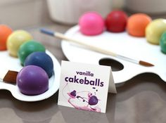 multi colored cakeballs - to be placed in a bowl and spilling out over dessert table