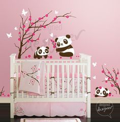 Wall Decal Panda wall decal  ,tree, butterflies ,flowers ,nursery, kids, Children Wall decals,  Wall Sticker - dd1059