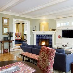 Gorgeous with sage walls and dark blue couch? Note ceiling