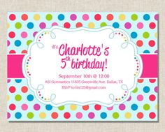 Rainbow Polka Dot  Girl Birthday Invitation  by PalomaPaperDesigns, $15.00