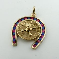 14K Gold Jeweled Horseshoe Lucky Roulette Wheel Vintage Pendant Charm Spins