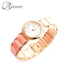 Pink Gold Plated Quartz Watch  Price: 27.99 & FREE Shipping Casual Watches, Bold Colors, Quartz Watch, Free Delivery, Pink And Gold, Bracelet Watch, Free Shipping, Lady, Accessories