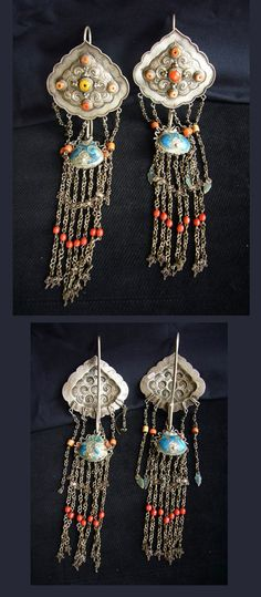 Mongolia   Pair of earrings; silver, coral, enamel and glass   POR