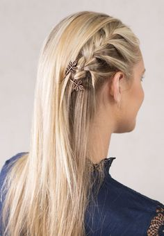 Beautiful side French braid hairstyle with stunning antique copper Autumn Leaves bobby pins