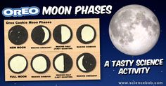 Learning about moon phases while eating Oreo cookies is about as good as it gets. Try this easy activity at home or in the classroom. Moon Activities, Girl Scout Activities, Science Activities, Activities For Kids, Science Experiments, Space Activities, Science Ideas, Science Fair, Science Lessons