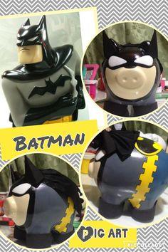 Alcancias pintadas a mano Lego Batman, Superhero, Personalized Piggy Bank, Pig Art, This Little Piggy, Pigs, Cactus, Baby Shower, Ceramics
