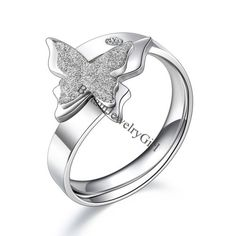 Silver-tone-Stainless-Steel-Butterfly-Opening-Ring-Womens-Wedding-Band-Size-6-9