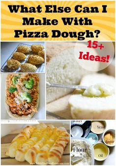 Pizza Dough - What Else Can I Make With it! Wondering What Else Can I Make with Pizza Dough? These 15 Creative Recipes will show you that there are lots of other uses for pizza dough besides Pizza? Freeze Pizza Dough, Easy Pizza Dough, Recipe With Pizza Dough, Pizza Dough Cinnamon Rolls, Store Bought Pizza Dough, Refrigerated Pizza Dough, Bread Pizza, Pizza, Deserts