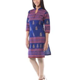 Equisitely elegant and alluring trendy kurta with super comfort and flexibility of being approriate for daily wear and work wear filled with energetic prints and eye poping colors for women Blue Block, Daily Wear, Printed Cotton, Kurti, Work Wear, Shops, Clothes For Women, Elegant, Awesome
