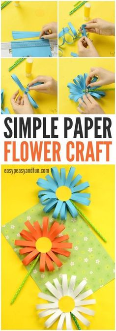 Simple Paper Flower Craft for KIds: #artsandcraftsforadults,