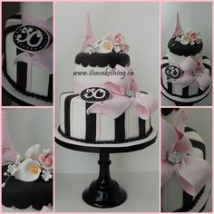 Paris Themed 50th Birthday Cake - by itsacakething @ CakesDecor.com - cake decorating website
