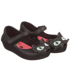 Mini Melissa Girls Black Cat Jelly Shoes at Childrensalon.com