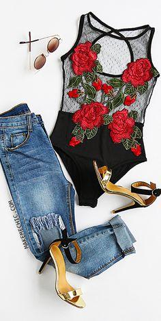 Black Rose Embroidered Cutout Back Mesh Bodysuit