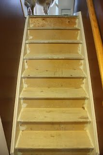 Stairway Remodel. DIY for those who rip up their carpet and do not find hardwood underneath! Installing stair treads and risers over pre-existing plywood or pressboard.