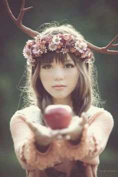 "What Is A Mori Girl? Mori Girl fashion recently emerged in 2007 in Japan. Mori means ""forest"" in Japanese, and the style concept is "". Fantasy Photography, Fashion Photography, Deer Photography, Whimsical Photography, Photography Flowers, Photography Editing, Mori Girl, Photomontage, Her Hair"