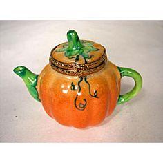 Limoges Hand-painted Pumpkin Tea Pot Keepsake Box