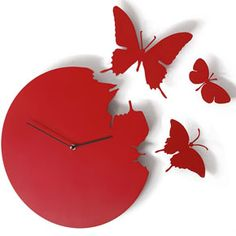 Butterfly Clock in Violet - purple wall clock - from Red Candy Purple Wall Clocks, Red Wall Clock, Wall Clock Design, Upcycled Crafts, Funky Living Rooms, Wall Stickers Birds, Pink Home Accessories, Interior Accessories, Kitchen Accessories