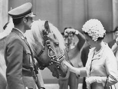 Queen Elizabeth II is one of many famous visitors to the Spanish Riding School, here she is in 1969 meeting a helflinger mare