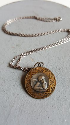"""Antique French Cherub Medal Cherub Angel Medal Angel Necklace Catholic Medal Angel Medal 19.50"""" Vintage Silver Chain Art Nouveau Jewelry by PinyolBoiVintage on Etsy"""