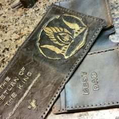Ready to stitch. Return of the King #lotr #thehobbit #jrrtolkien #etsy #nerdist #art #Crafts #leather #geek #nerd #tooledleather #wallet #handmadewallet #boyfriend #boyfriendgift #dadgift #art #craft #artisan  WorldofLeathercraft.com