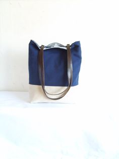 Navy tote navy blue bag leather handles colorblock by allbyFEDI