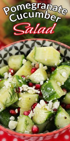 Cucumbers and dill = healthy + delicious! Add in some pomegranates and you have a beautiful fresh CUCUMBER POMEGRANATE SALAD. This side recipe is bound to be a hit in your house! #heathysalad #cucumbersalad #pomegranatesalad #saladrecipe #summersalad #christmassalad Best Salad Recipes, Summer Salad Recipes, Side Recipes, Summer Salads, Healthy Recipes, Blt Pasta Salads, Pomegranate Salad, Main Dish Salads, Healthy Food To Lose Weight