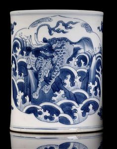 A good blue and white qilin and landscape porcelain brushpot, China, Kangxi period.
