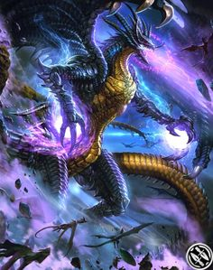 View an image titled 'FFVII Bahamut Art' in our Mobius Final Fantasy art gallery featuring official character designs, concept art, and promo pictures. Mobius Final Fantasy, Final Fantasy Art, High Fantasy, Dark Fantasy Art, Fantasy Artwork, Fantasy Creatures, Mythical Creatures, Legendary Dragons, Super Anime