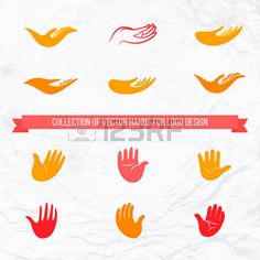 manos logo: Colección de vector de las palmas abiertas y las manos con vista frontal y lateral para el diseño del logotipo. Concepto de amor, la familia, la atención, la comunidad local y global, ayuda, seguro, amistad, apoyo, caridad, donación Vectores