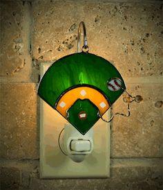 Baseball Diamond Stained Glass Nightlight