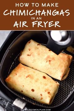 Im bringing that crispy deep-fried restaurant style meal straight to your kitchen by teaching you How to Make Chimichangas in an Air Fryer! These chimichangas work great for meal prep and are freezer friendly! - Deep Fryer - Ideas of Deep Fryer Air Fryer Recipes Breakfast, Air Fryer Dinner Recipes, Air Fryer Oven Recipes, Air Fryer Recipes Whole Chicken, Air Fryer Recipes Mexican, Deep Fryer Recipes, Air Fryer Recipes Vegetarian, Vegetarian Cooking, Chicken Recipes