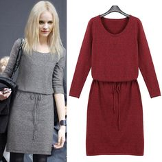 Fashion Long Sleeve Round Neck Gathered Waist Solid Color Dress