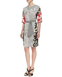 1/2-Sleeve Combo-Print Tunic Dress, Black White Red - Etro