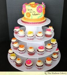 Love is in Bloom Bridal shower cupcakes