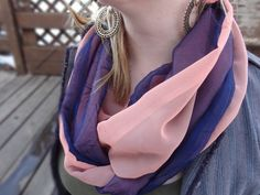 Navy blue and salmon infinity scarf by PaleDesign on Etsy, $21.00