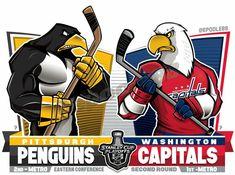 2018 NHL Eastern Semifinal: Pittsburgh Penguins v. Washington Capitals Stanley Cup, Washington Capitals Hockey, Creative Logo, Penguins Vs Capitals, Hockey Drawing, Nhl Logos, Sports Logos, Cup Tattoo, Penguin Love