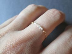 Tiny Freshwater Pearls Chain Ring - Sterling Silver Dainty Promise Anniversary June Birthstone