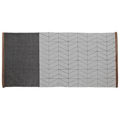 Cool, calm and collected dark grey and cool light grey rug with geometric pattern. Silky tan hemmed ends, this rug is the perfect complement to any modern space.