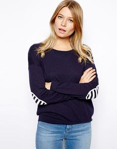 sweater with stripe elbow patches / asos