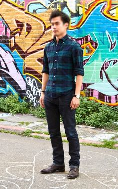 veroz is wearing: Plaid Button-down Shirt by Gitman Vintage, Max Bill watch by Junghans, Indigo Jeans by 3Sixteen, Brown John Varvatos Six o' Six Boots,