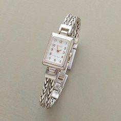 Elegant as can be, this sterling silver chain bracelet watch looks good with everything. Vintage Watches Women, Women Jewelry, Unique Jewelry, Fashion Jewelry, Women's Fashion, Enamel Jewelry, Jewelry Box, Jewellery, Bracelet Watch