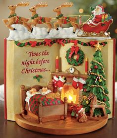 Lighted Night Before Christmas Tabletop Figurine Collections Etc Diy Christmas Lights, Christmas Tabletop, Christmas Sweets, Noel Christmas, Christmas Baking, Christmas Cookies, Christmas Crafts, Christmas Decorations, Christmas Wedding