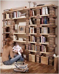 Une bibliothèque DIY avec des briques