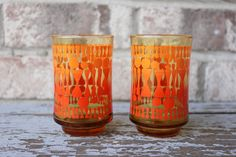 Set of 2 vintage LIBBEY 6 oz orange Bolero juice glasses.