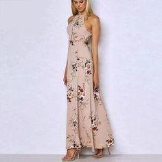 Halter Floral Maxi Dress – LaLou