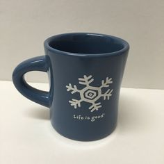 Life is Good Heavy Blue Snowflake Coffee Mug